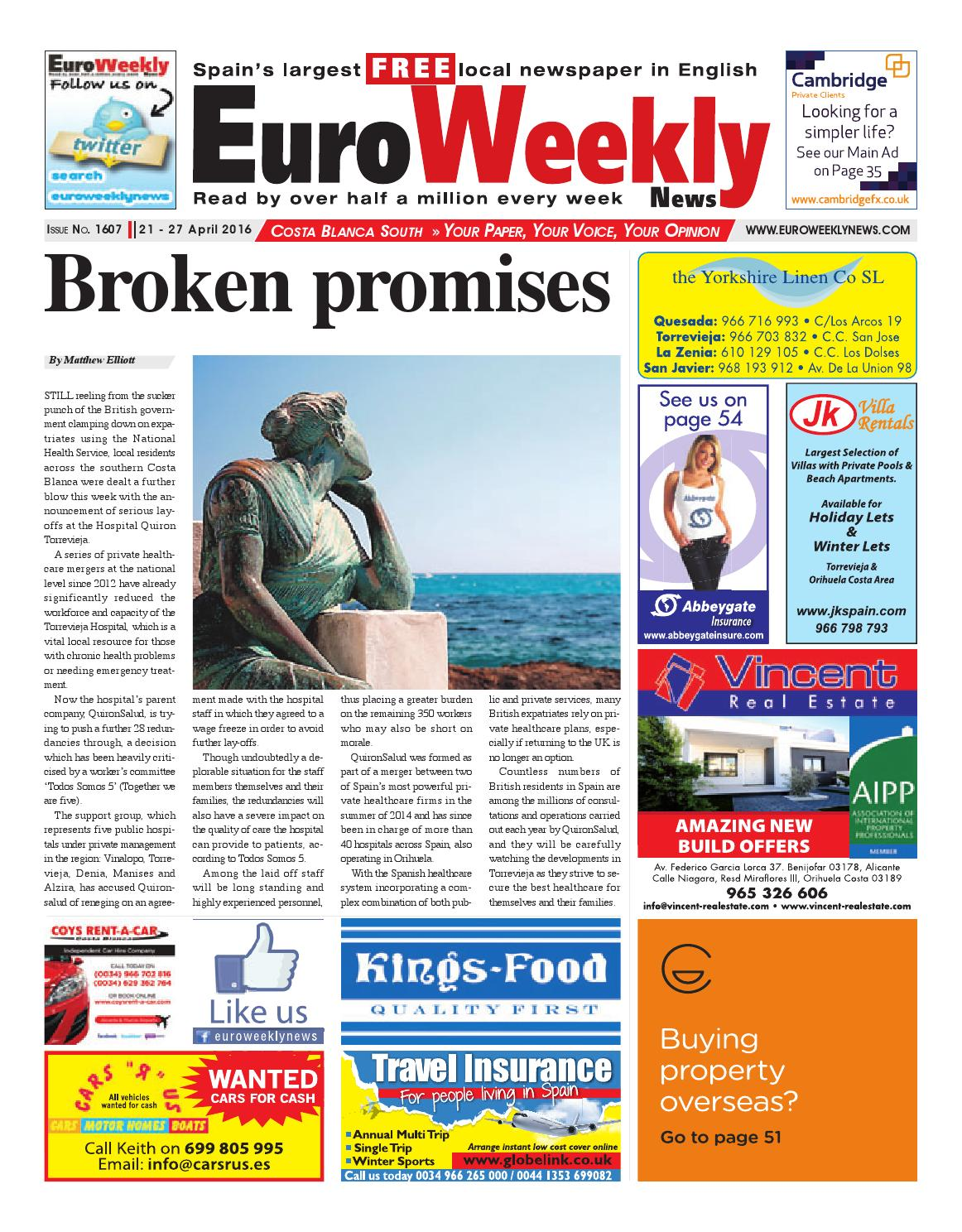 198a7f2899a Euro Weekly News - Costa Blanca South 21 - 27 April 2016 Issue 1607 by Euro  Weekly News Media S.A. - issuu