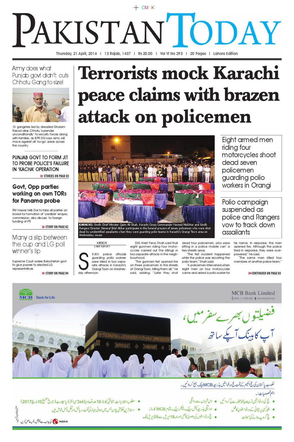 E paper pdf (21 4 2016) lhr by Pakistan Today - issuu