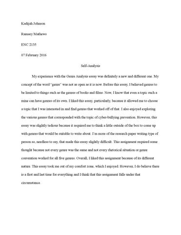 My English Class Essay Kadijah Johnson Ramsey Mathews Enc   February  Selfanalysis My  Experience With The Genre Analysis Essay Was Definitely A New And Different  One Important Of English Language Essay also The Importance Of Learning English Essay Self Analysis On Genre Analysis By Kadijah S  Issuu Narrative Essay Sample Papers