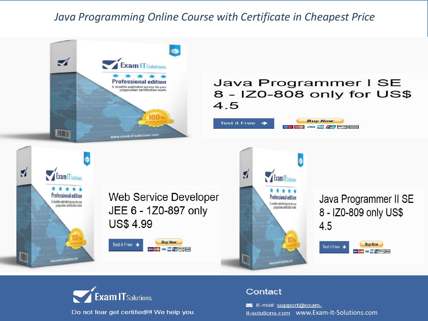 Java Programming Online Course With Certificate In Cheapest Price