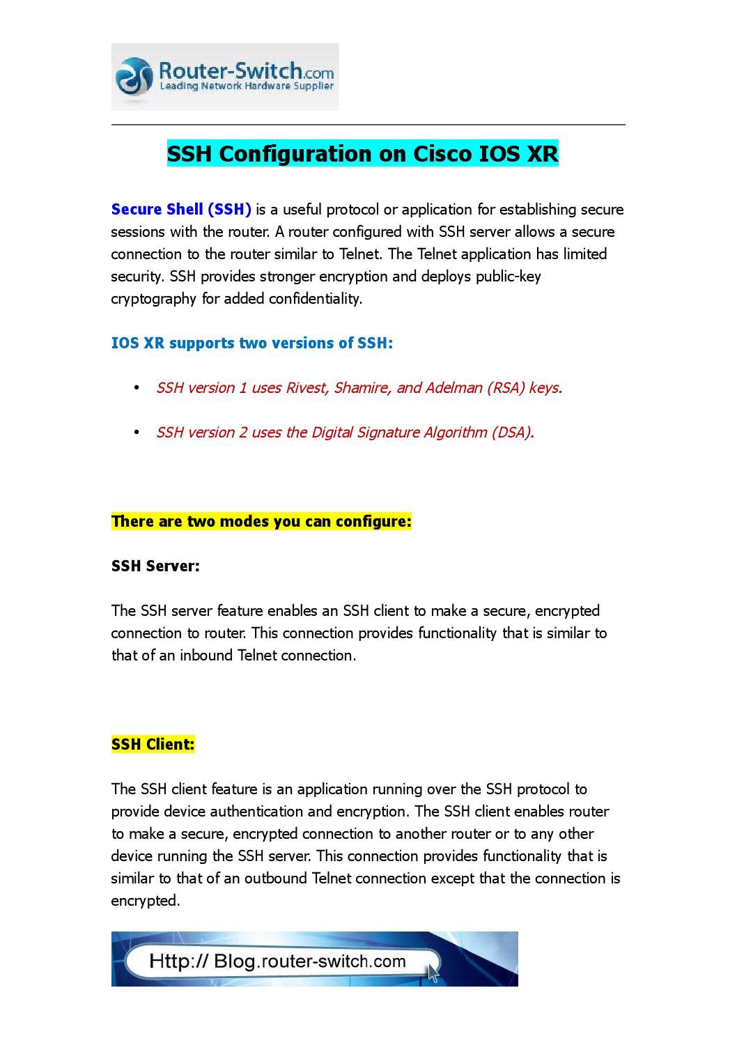 Ssh configuration on cisco ios xr by Yejian HK - issuu