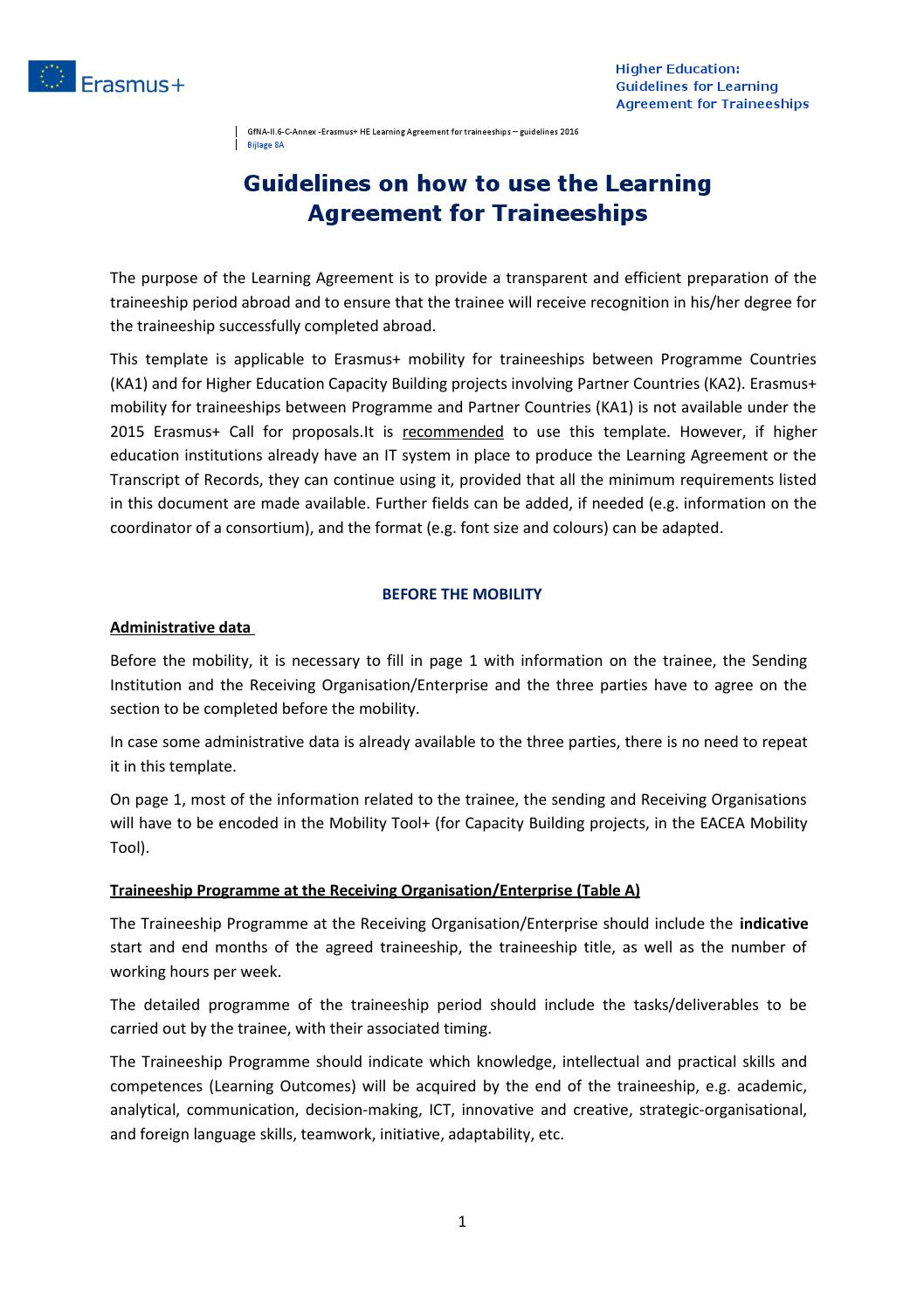 Guidelines Learning Agreement For Traineeships 20162017 By