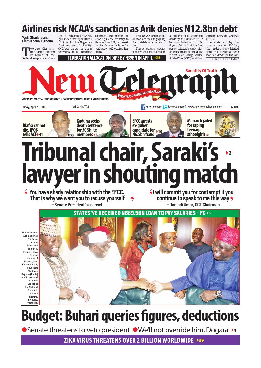 Friday, april 22, 2016 new telegraph by Newtelegraphonline