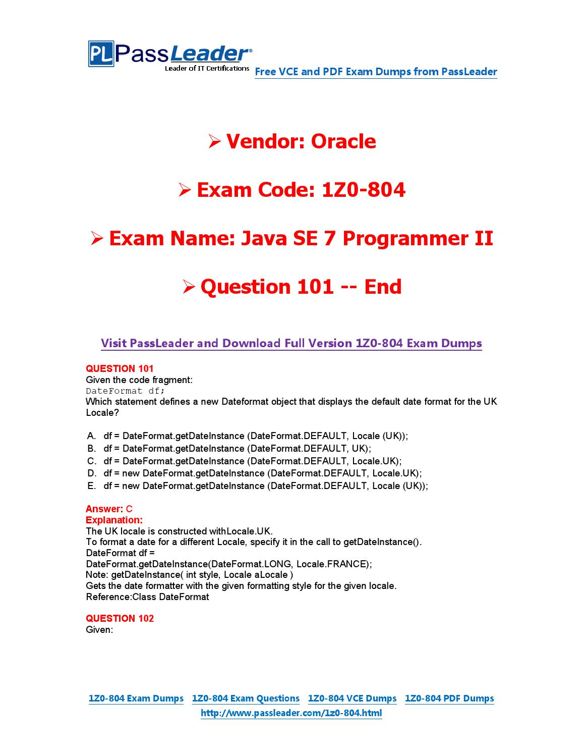 2016 New 1Z0-804 Exam Dumps For Free (VCE and PDF) (101-end) by Exam