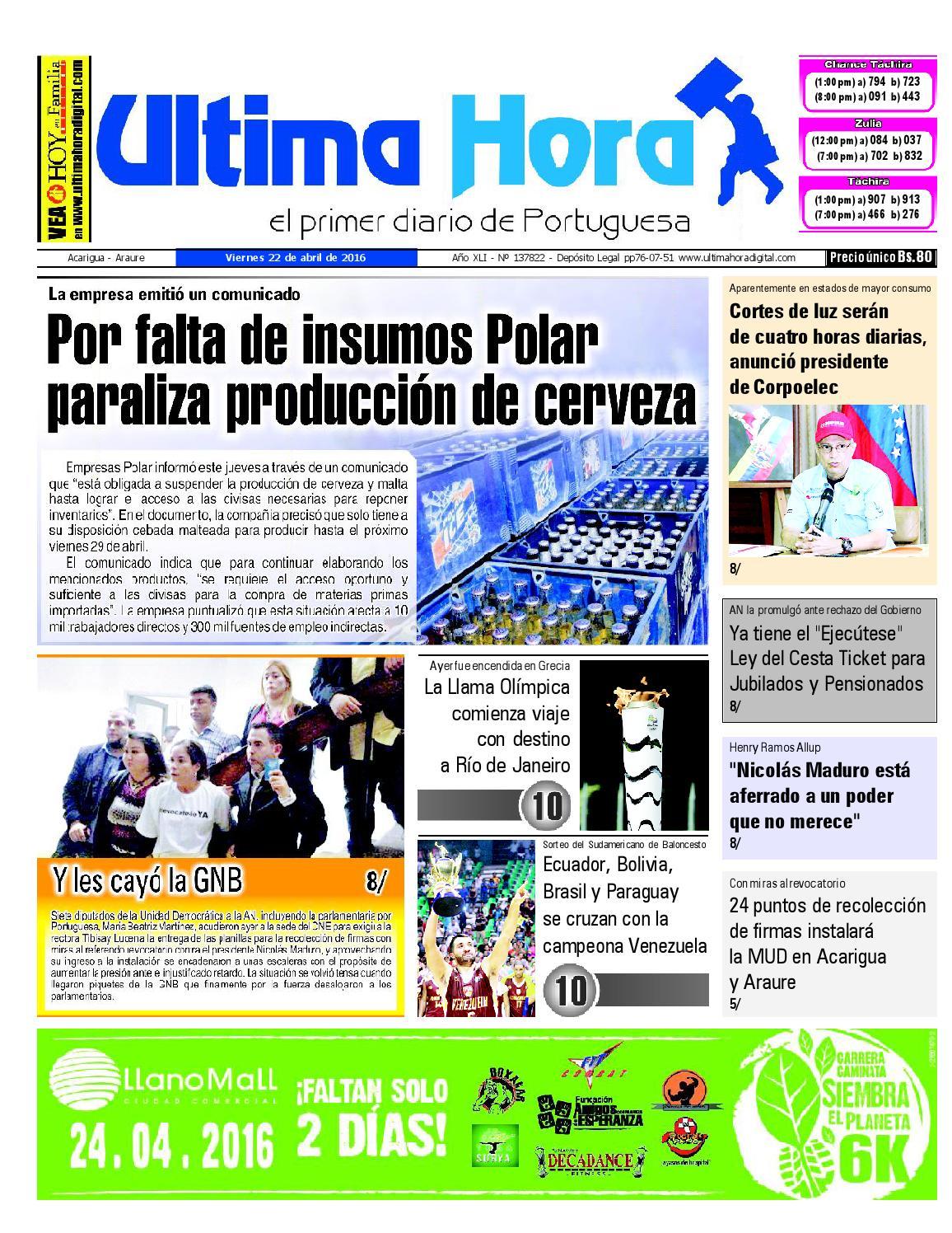 Edición 22 04 2016 by Ultima Hora - El primer diario de Portuguesa ...