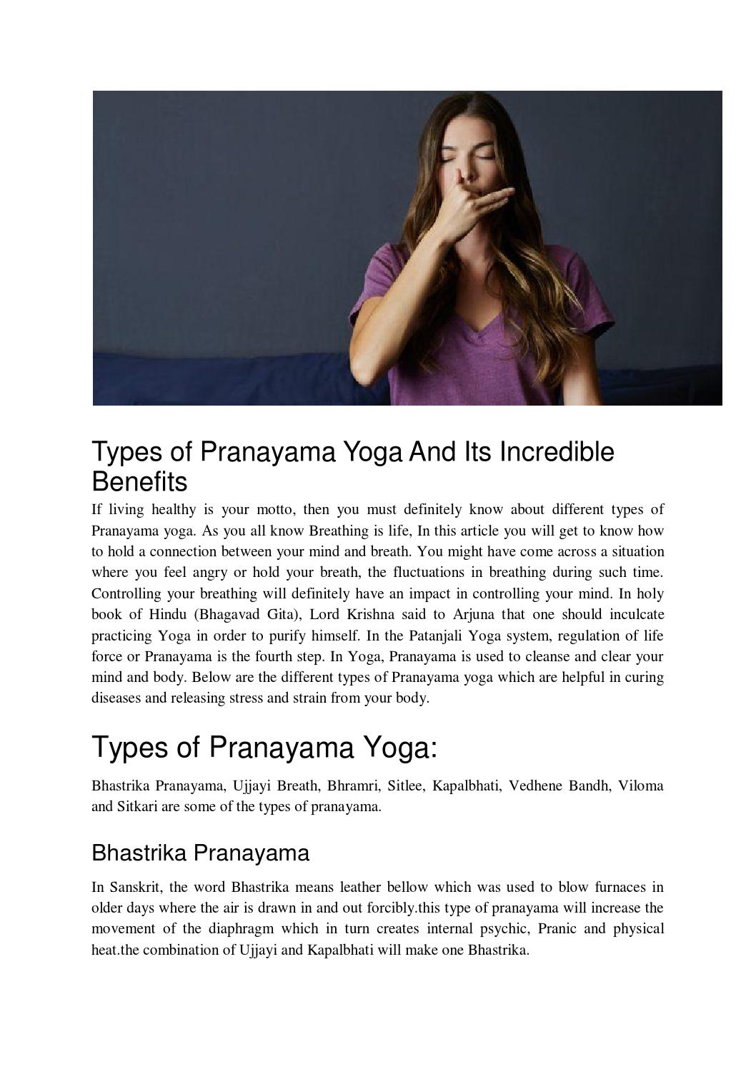Types of pranayama yoga and its incredible benefits by
