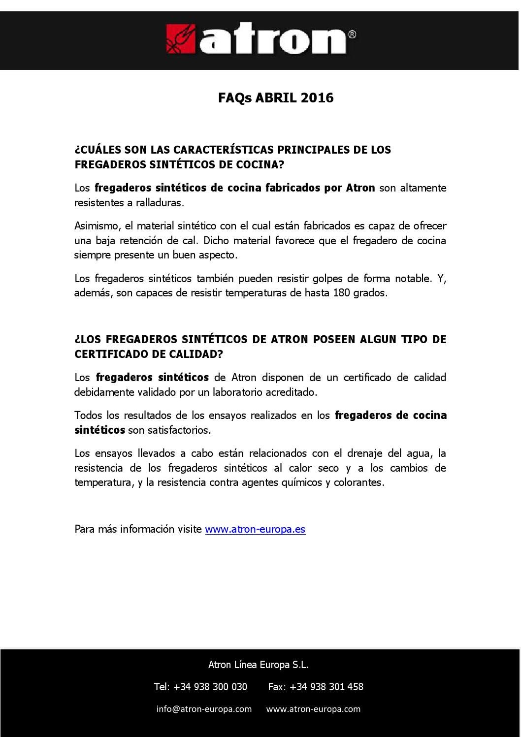 Faqs abril 2016 by atron fregaderos issuu - Fregaderos atron ...