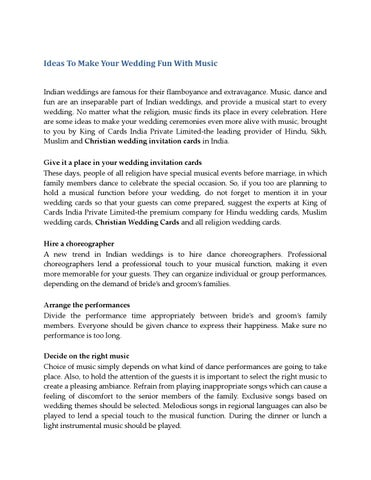 Ideas To Make Your Wedding Fun With Music By Kingofcards Issuu