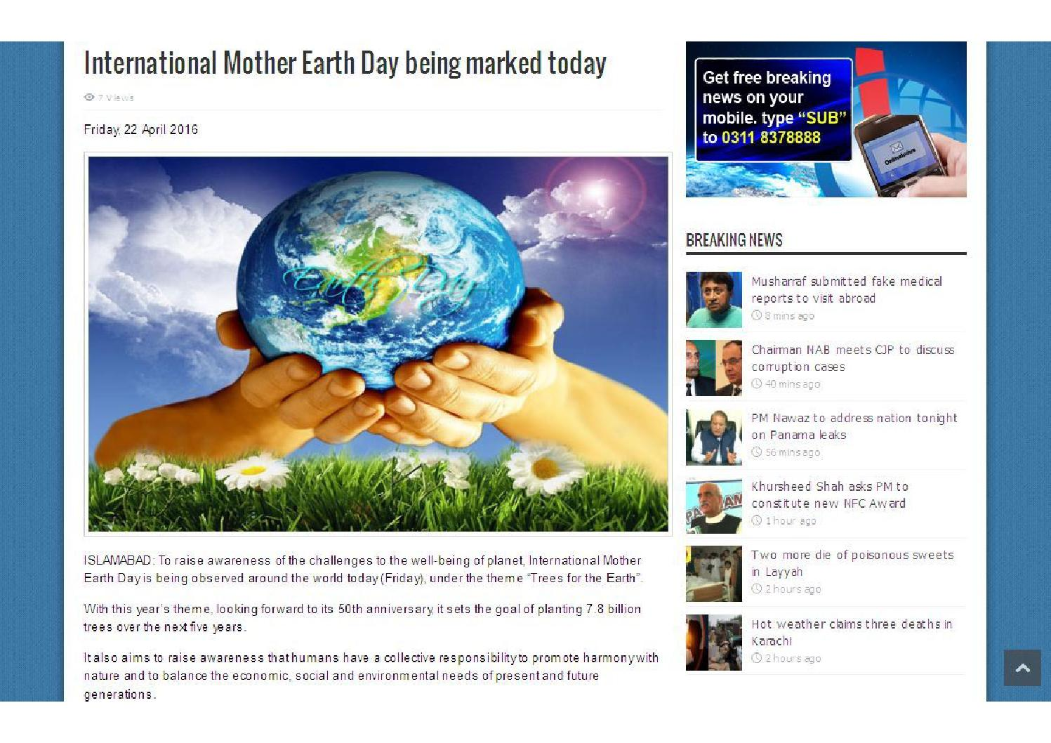 International Mother Earth Day being marked today by