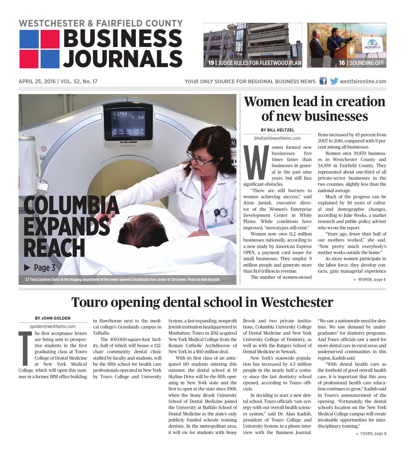 Westchester and Fairfield County Business Journals 042516 by