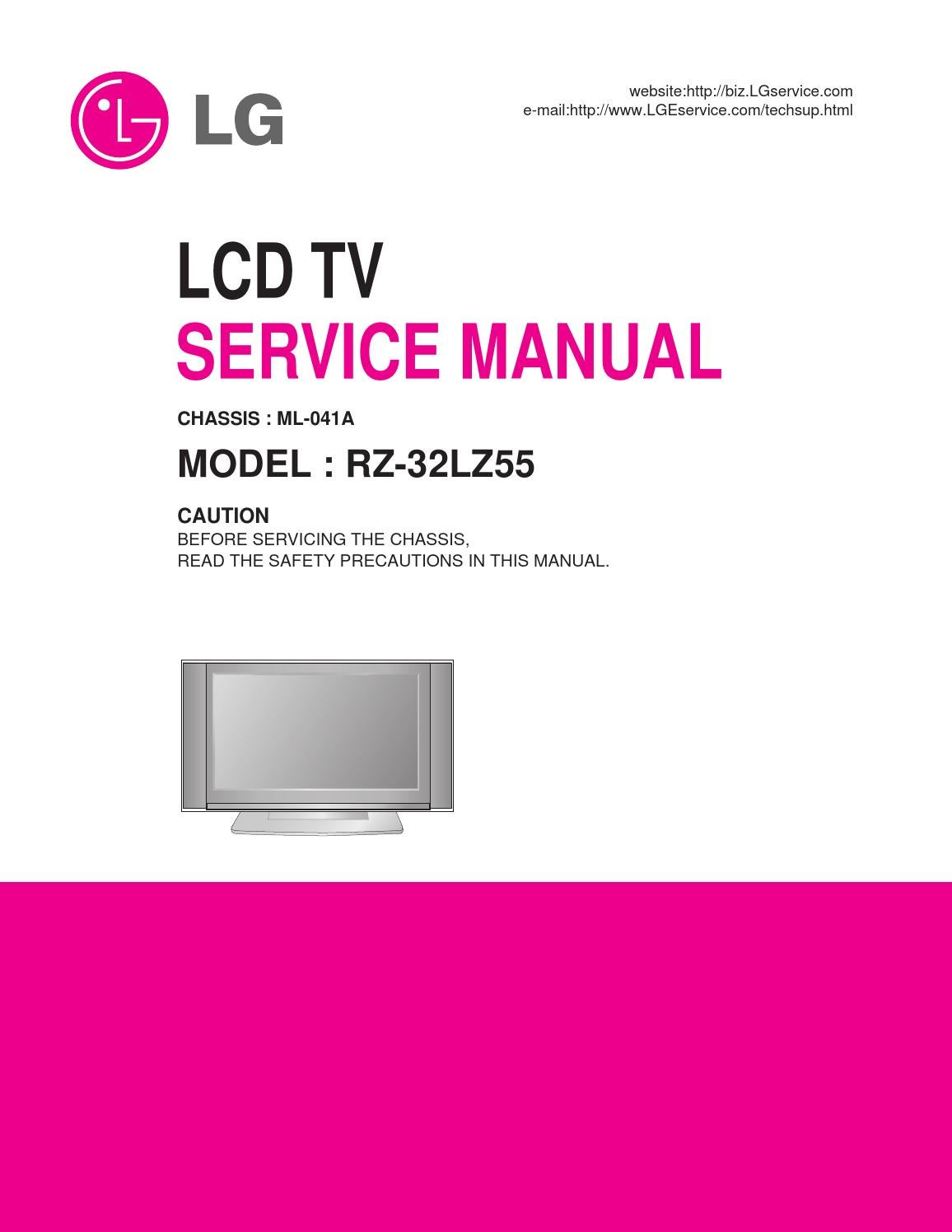 manual tv lg rz 32lz55 chassis ml 041a by portal da. Black Bedroom Furniture Sets. Home Design Ideas