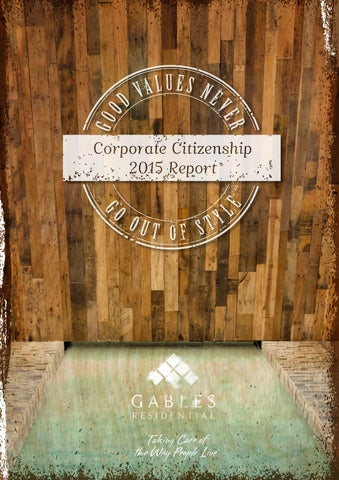 Gables Corporate Citizenship 2015 Report by Gables Residential - issuu