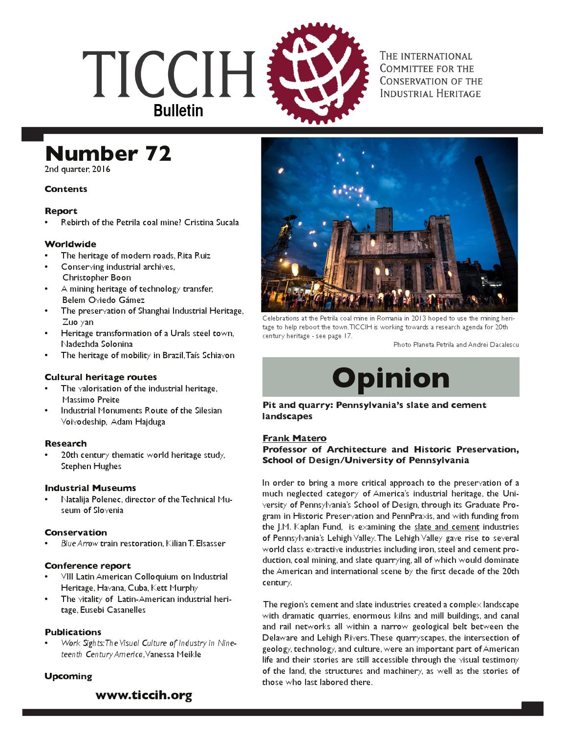 TICCIH Bulletin No  72 - 2nd quarter, 2016 by TICCIH - The