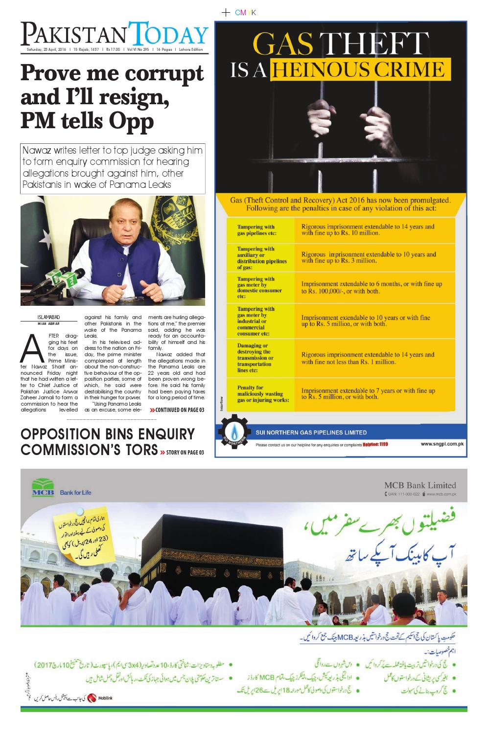 E paper pdf (23 4 2016) lhr by Pakistan Today - issuu