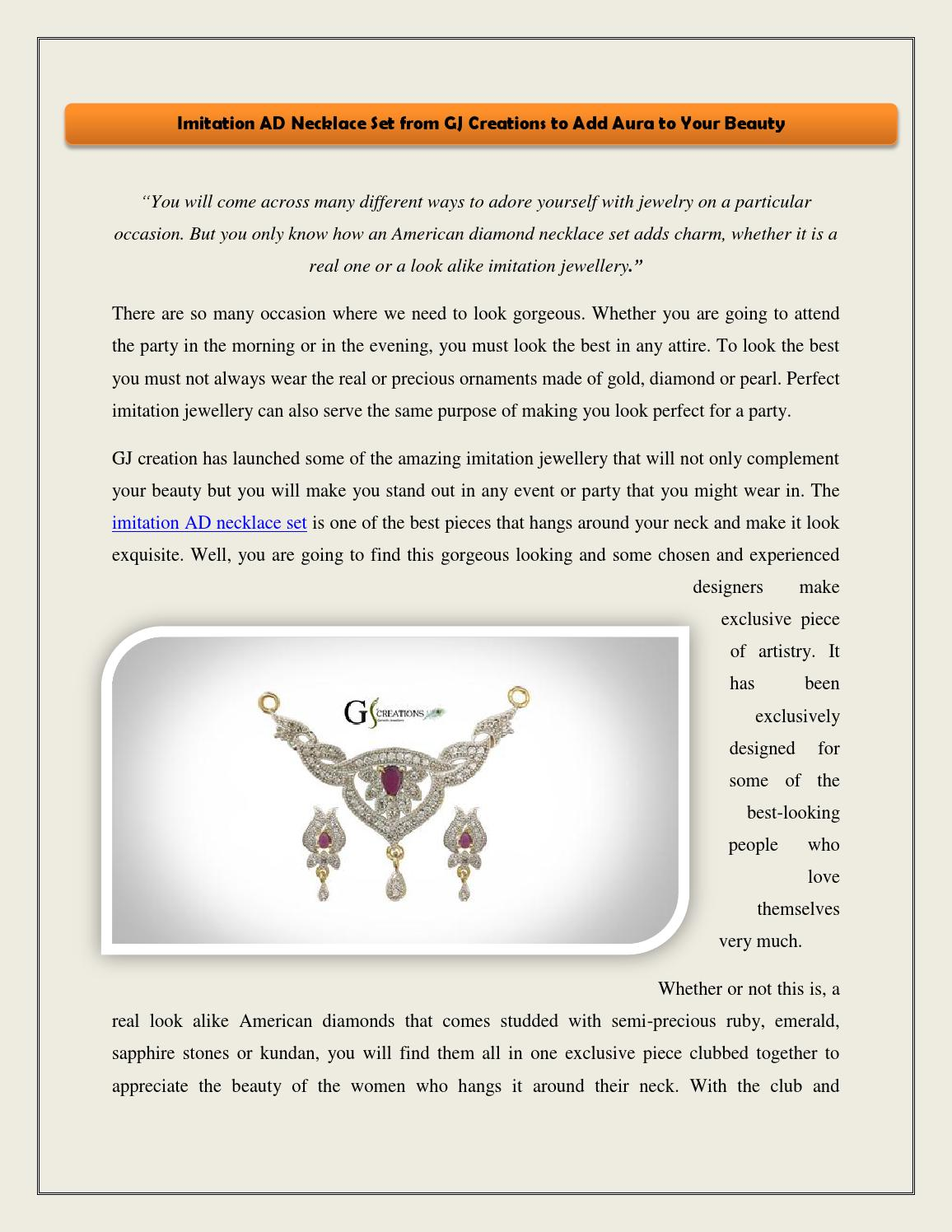 Imitation Ad Necklace Set From Gj Creations To Add Aura To Your Beauty By Gj Creations Issuu