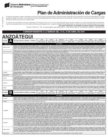 Plan de racionamiento el ctrico semana del 23 al 30 abril for Cronograma de racionamiento de luz en aragua