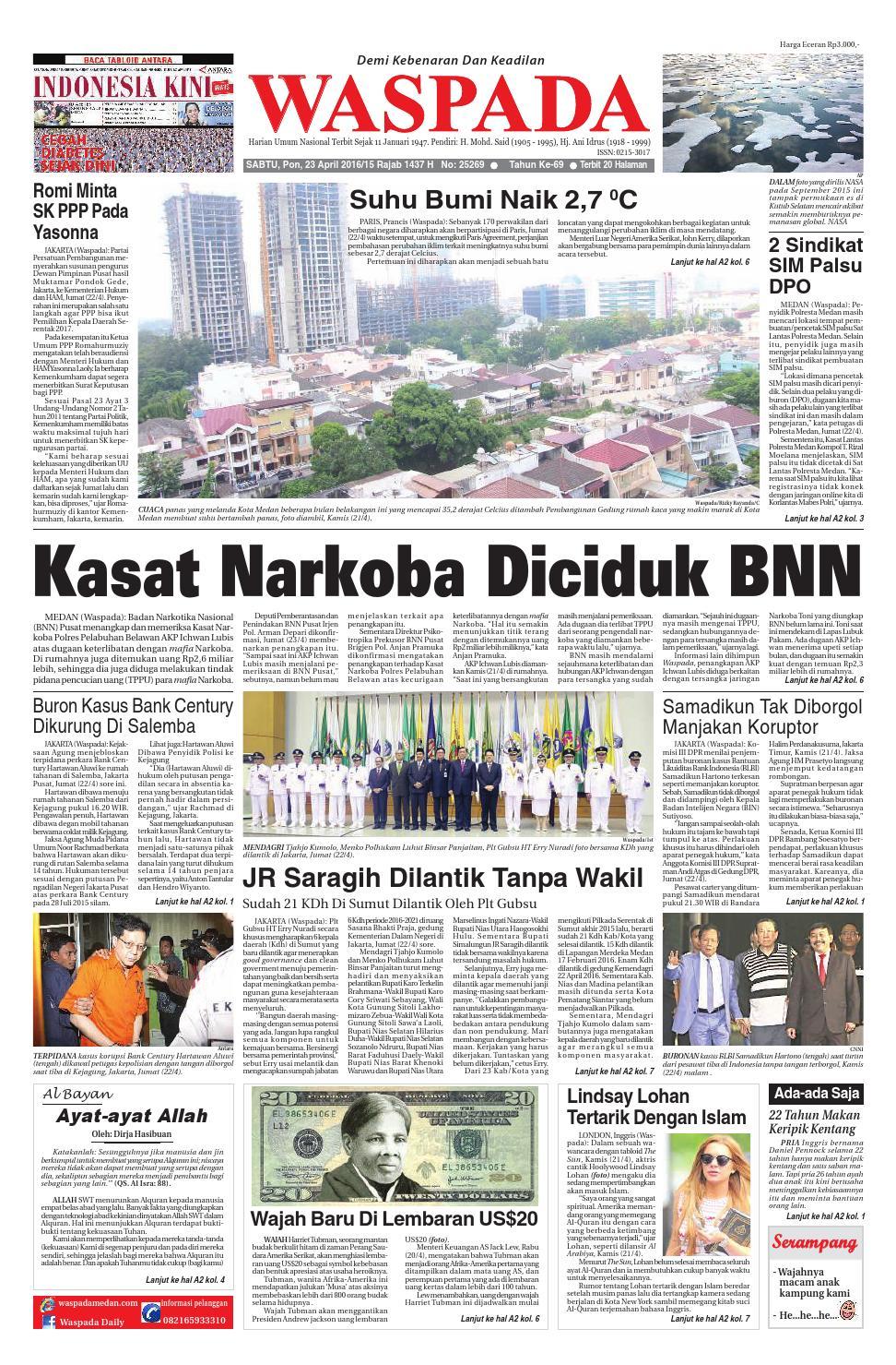 Waspadasabtu 23 April 2016 By Harian Waspada Issuu Keripik Tahu Alip Bintang Terang Pgp