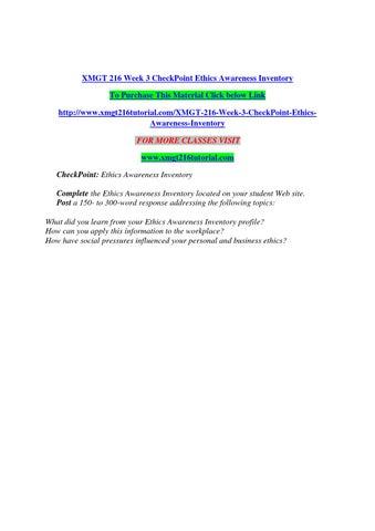 ethics awareness inventory