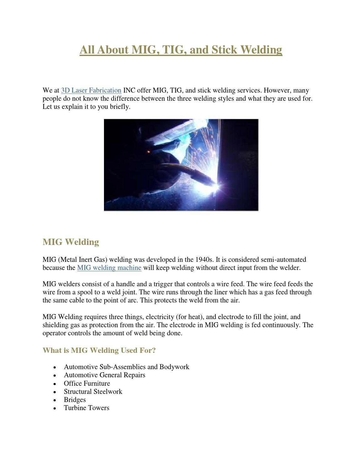All About MIG, TIG, and Stick Welding by LaserFabrication