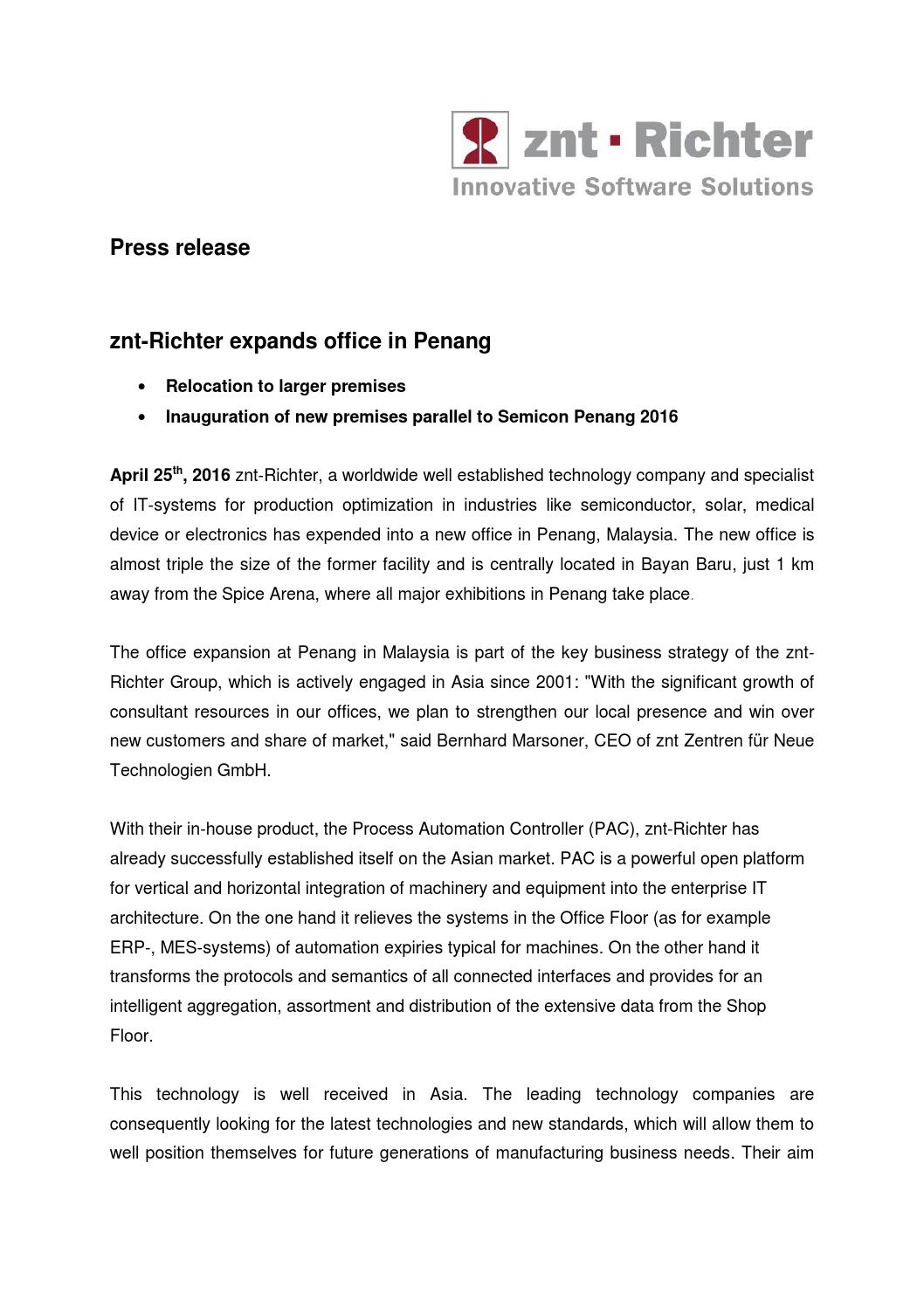 znt-Richter expands office in Penang by Pressedienst PR-Gateway - issuu