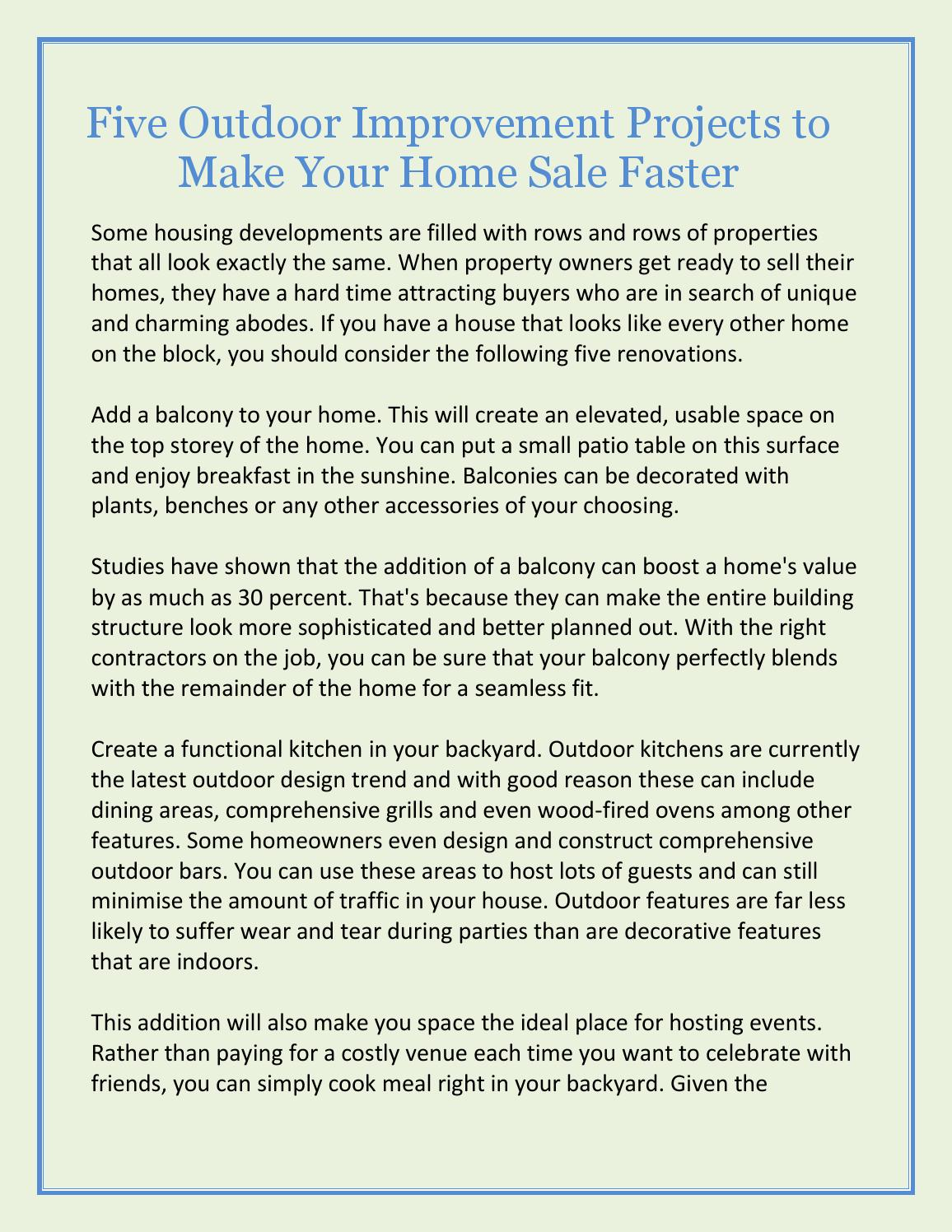 Five Outdoor Improvement Projects To Make Your Home Sale Faster By