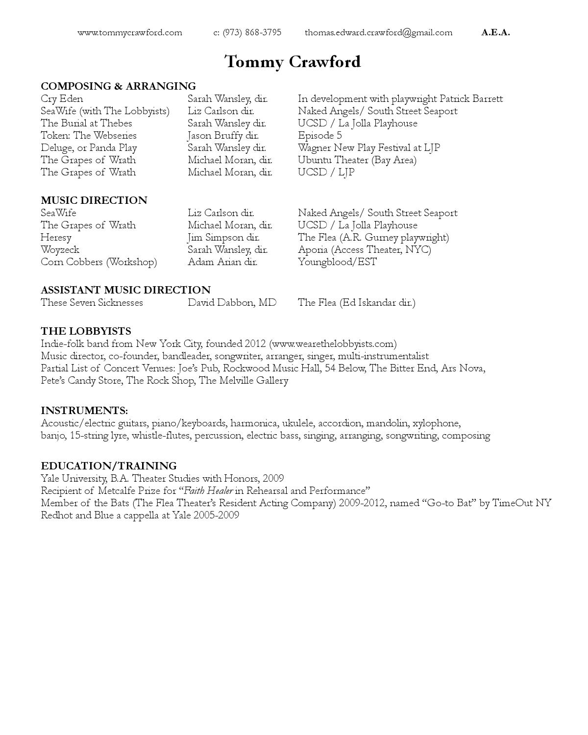Composer Resume Updated For Website By Tommy Crawford