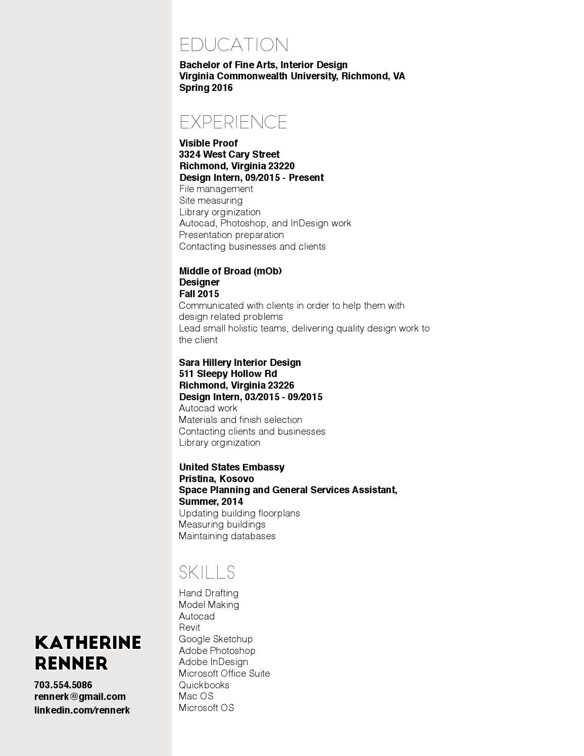 Resume By Kate Renner