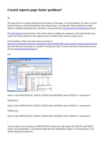Crystal reports page footer problem? by sincerealloy291 - issuu