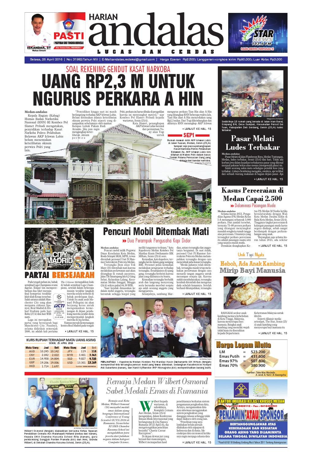 Epaper Andalas Edisi Selasa 26 April 2016 By Media Andalas Issuu
