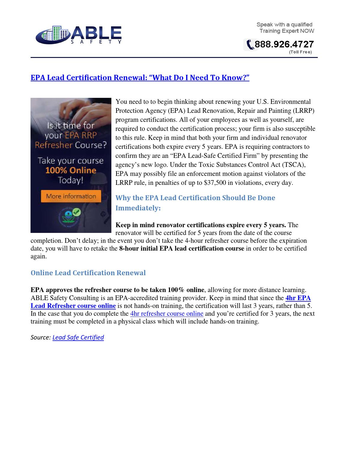 Epa Lead Certification Renewal What Do I Need To Know By John