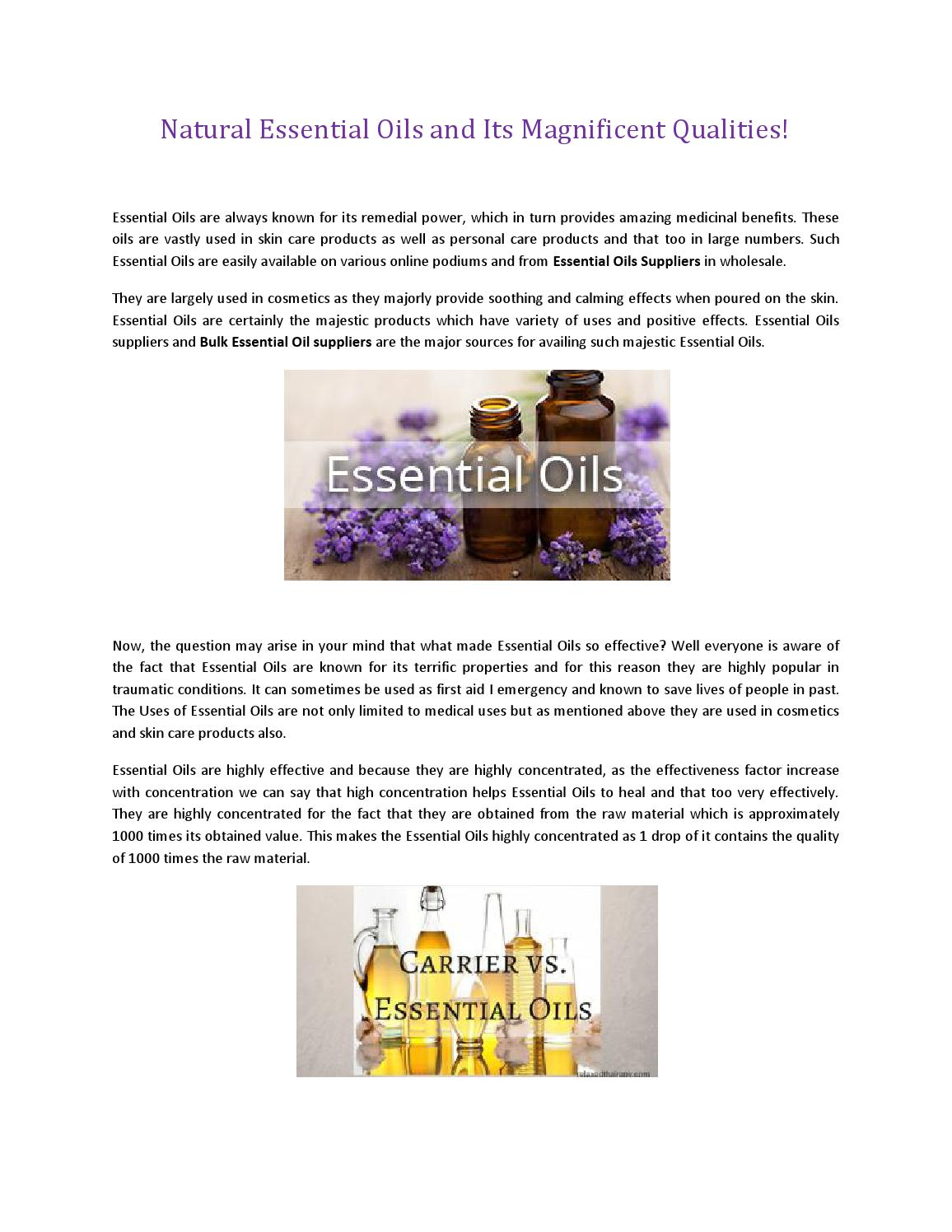 Natural Essential Oils and Its Magnificent Qualities! by