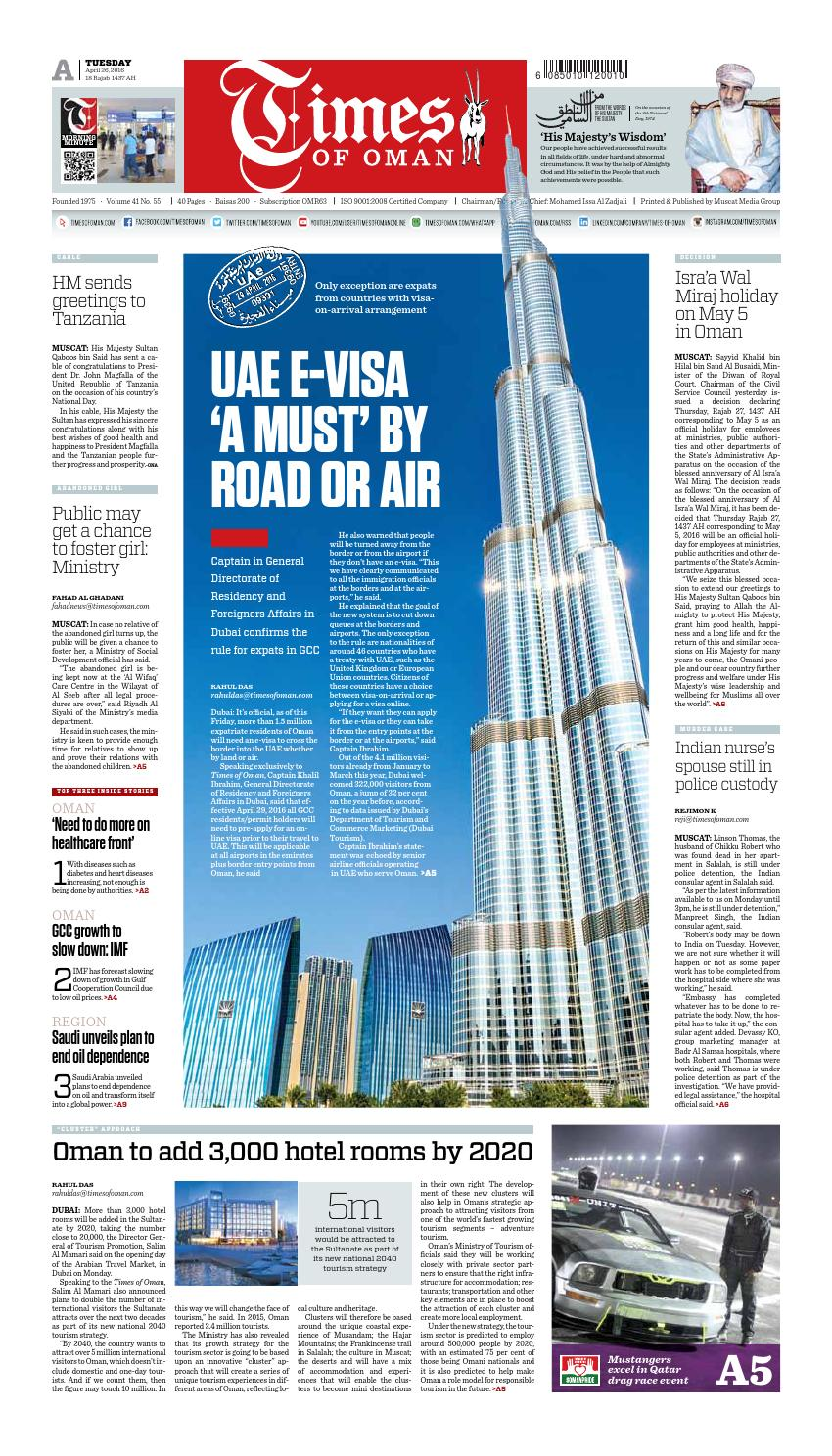 Times of Oman - April 26, 2016 by Muscat Media Group - issuu