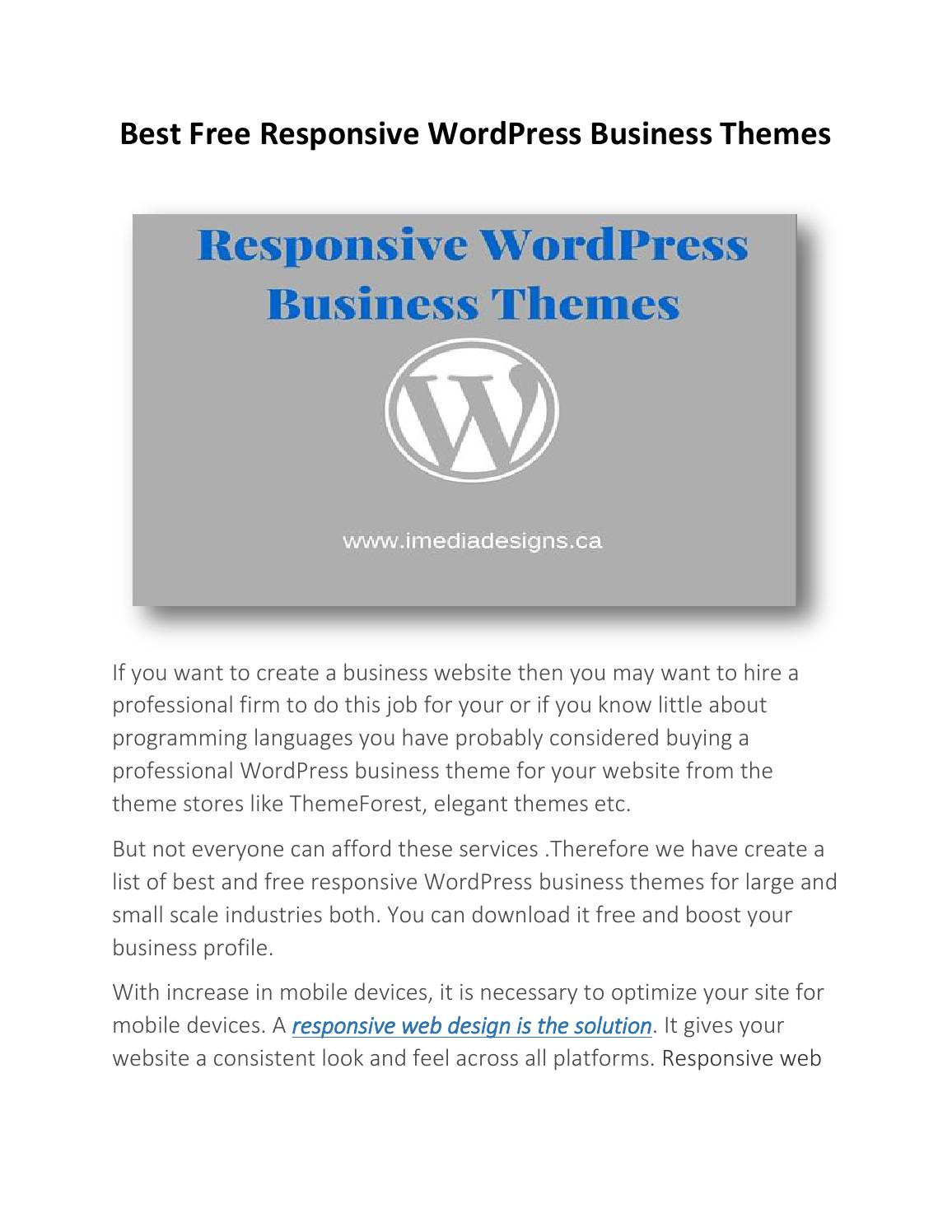 Best Free Responsive WordPress Business Themes by seo service