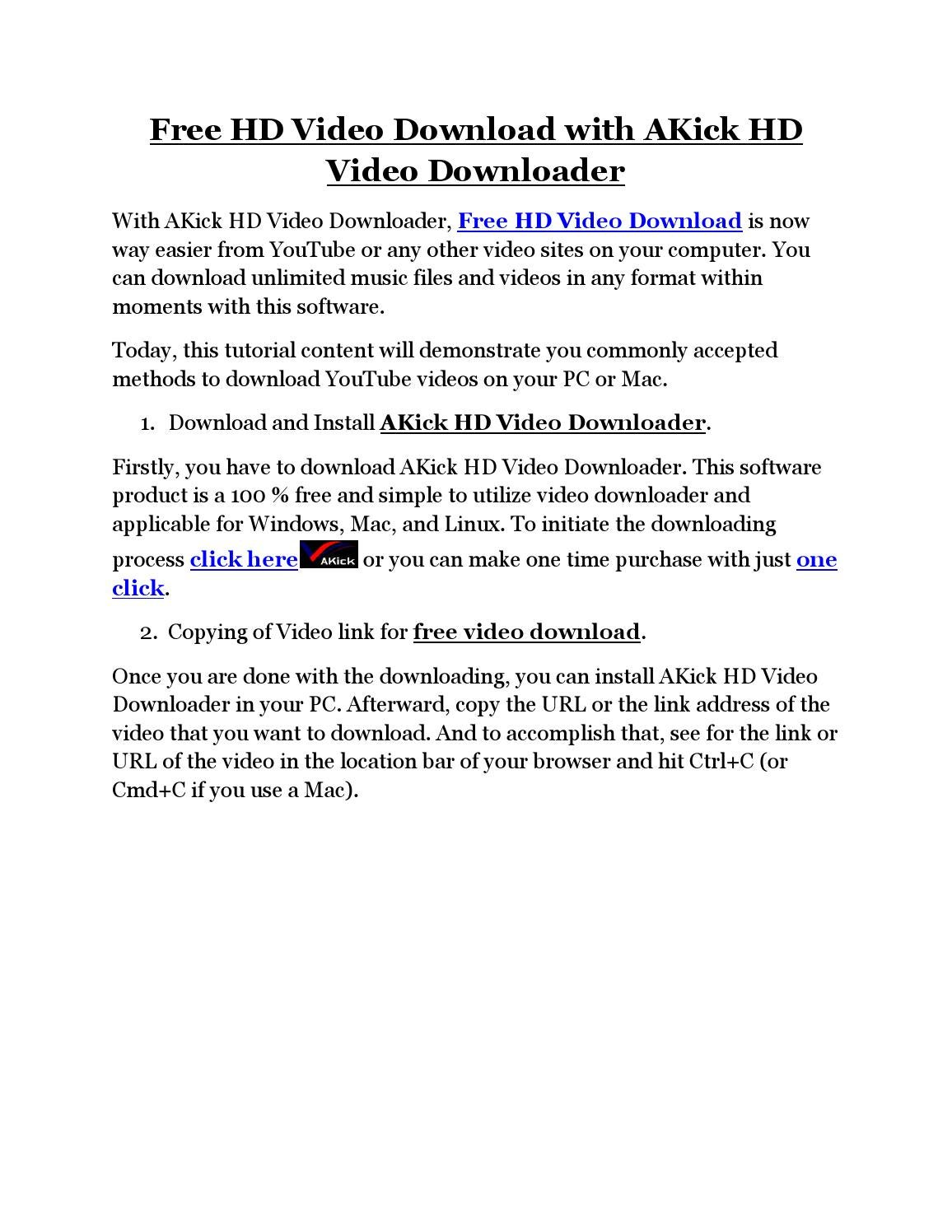 Free Hd Video Download With Akick Hd Video Downloader By Akick Software   Issuu
