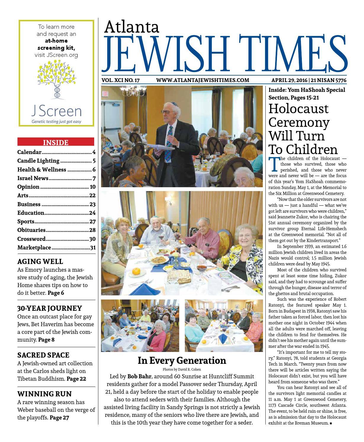 Atlanta Jewish Times, Vol  XCI No  17, April 29, 2016 by