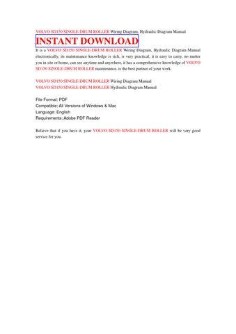 Volvo sd150 single drum roller wiring diagram, hydraulic diagram manual by  hfsbfbsf - issuu | Volvo Roller Wiring Diagram |  | Issuu