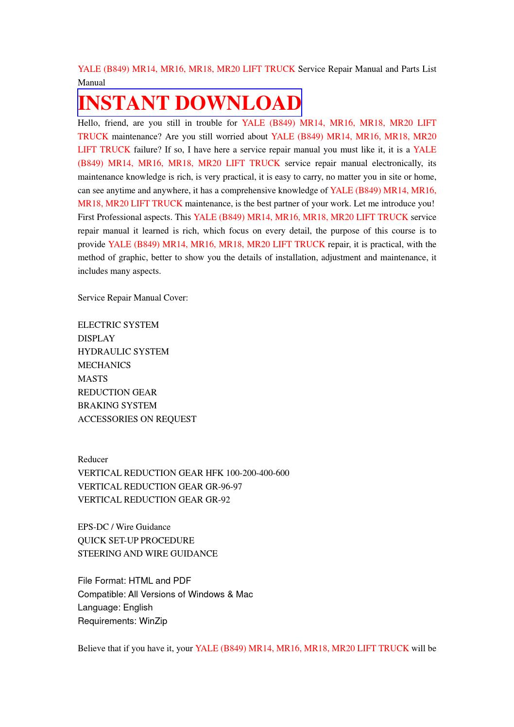 Yale (b849) mr14, mr16, mr18, mr20 lift truck service repair manual ...