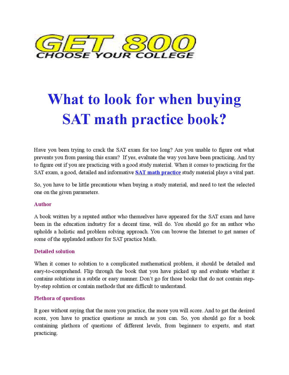 What to look for when buying sat math practice book by Sat