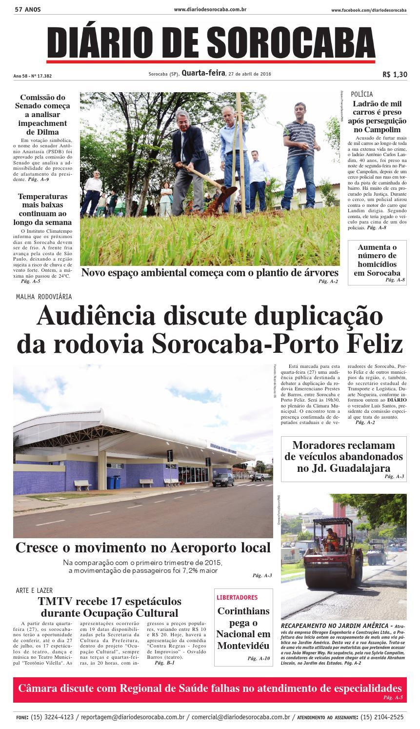 Edição de 27 de abril de 2016 by DIÁRIO DE SOROCABA - issuu bfd07c268ca63
