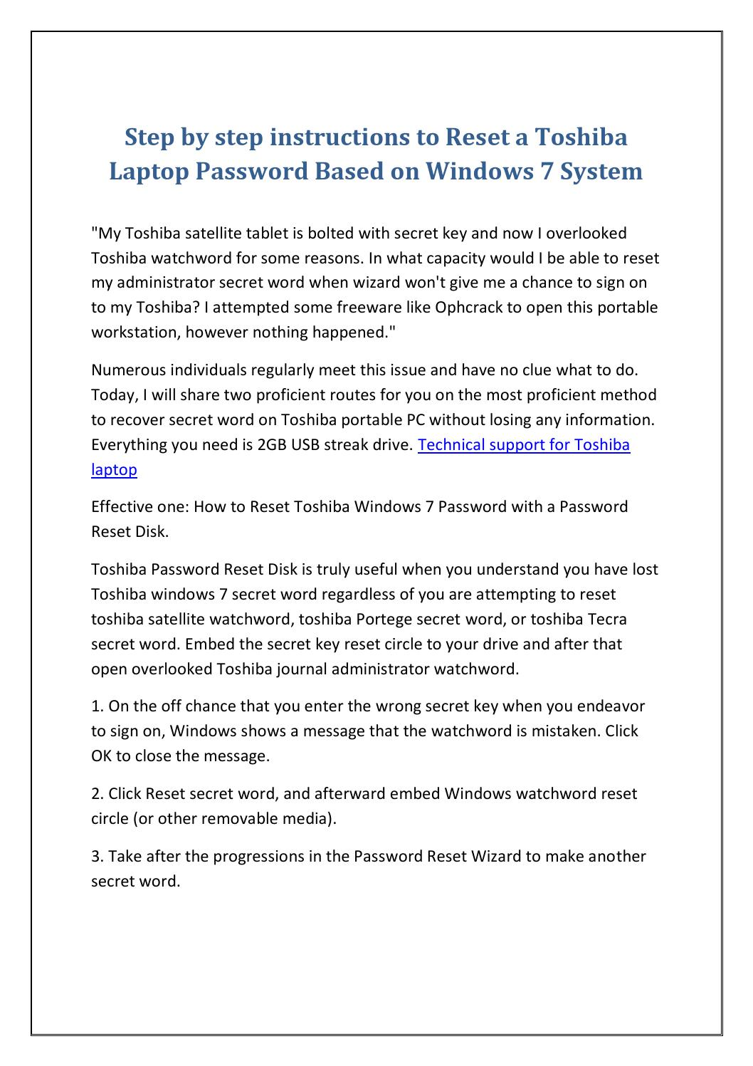 how to reset a password on a toshiba laptop windows 7