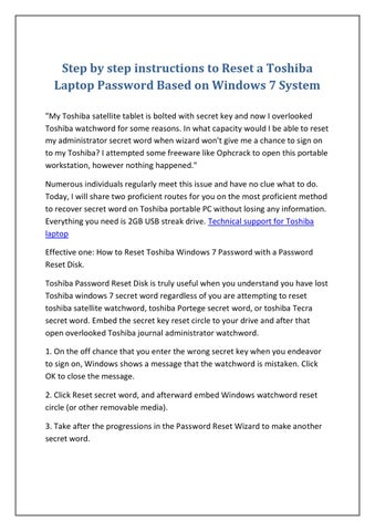 Step by step instructions to Reset a Toshiba Laptop Password