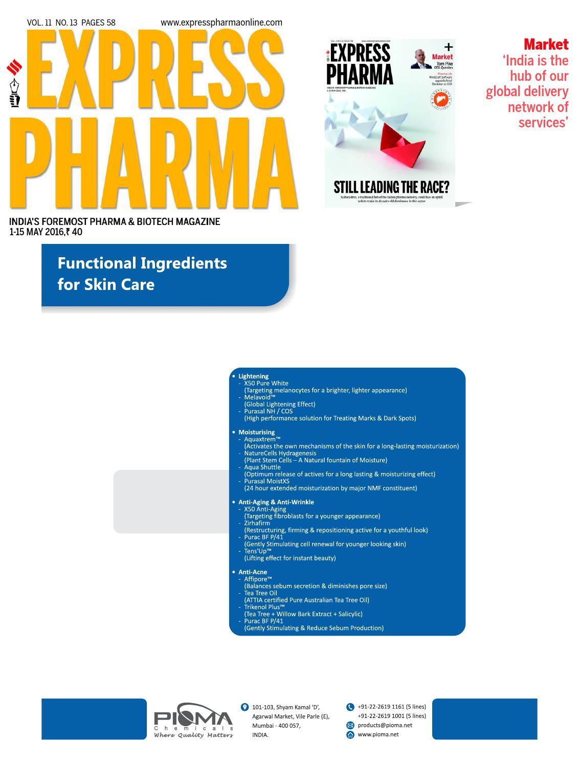 Express Pharma Vol11 No13 May 1 15 2016 By Indian Express Issuu