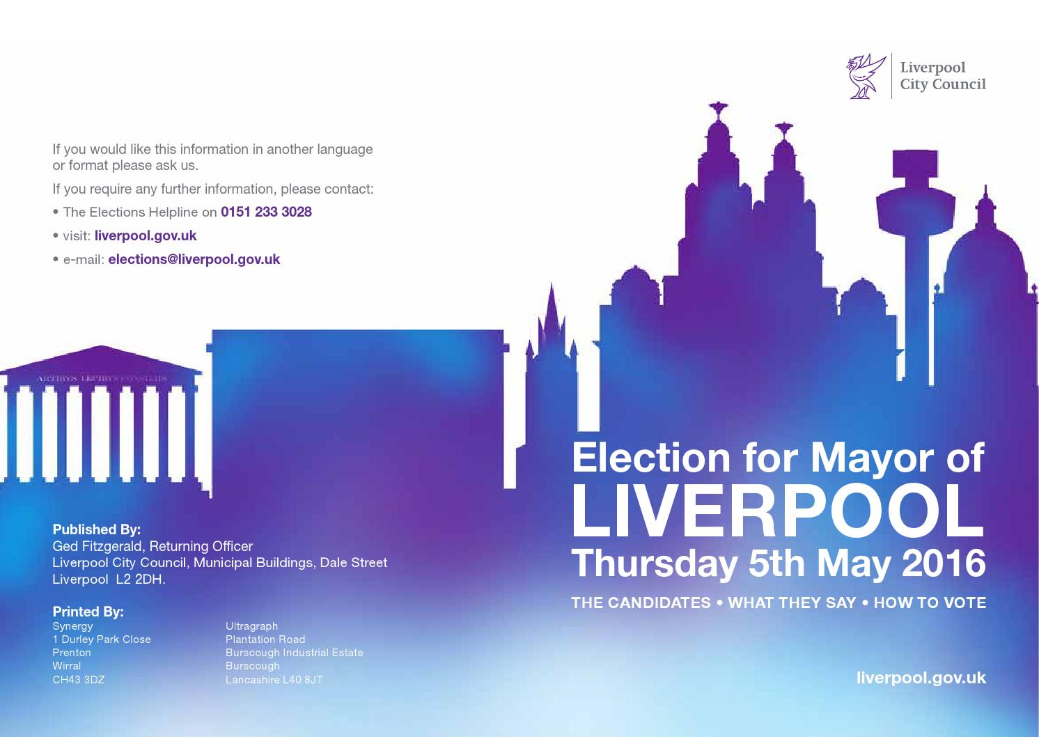 Liverpool Mayoral Election Brochure 2016 by Future Liverpool issuu – Election Brochure
