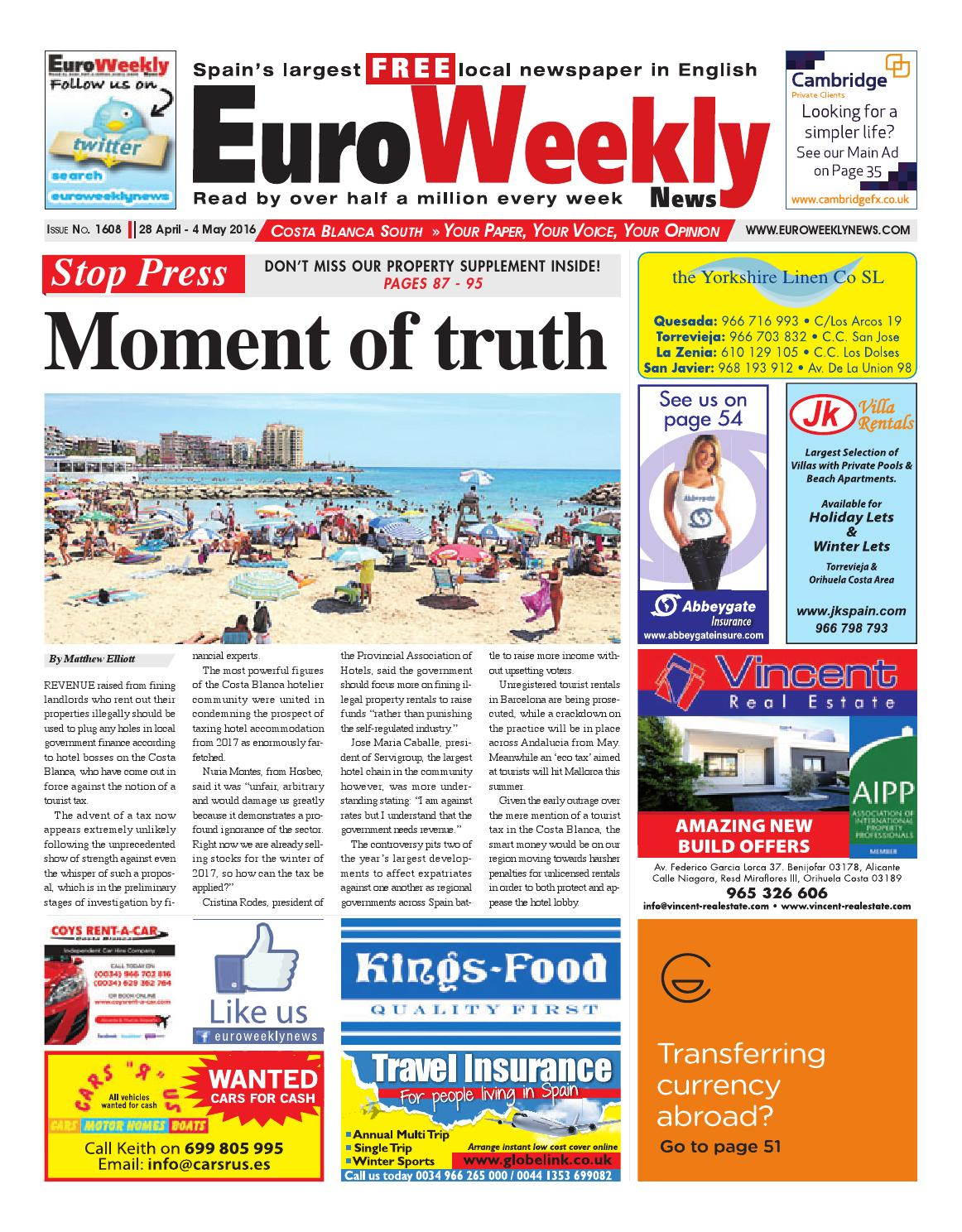 Euro weekly news costa blanca south 28 april 4 may 2016 issue euro weekly news costa blanca south 28 april 4 may 2016 issue 1608 by euro weekly news media sa issuu fandeluxe Image collections