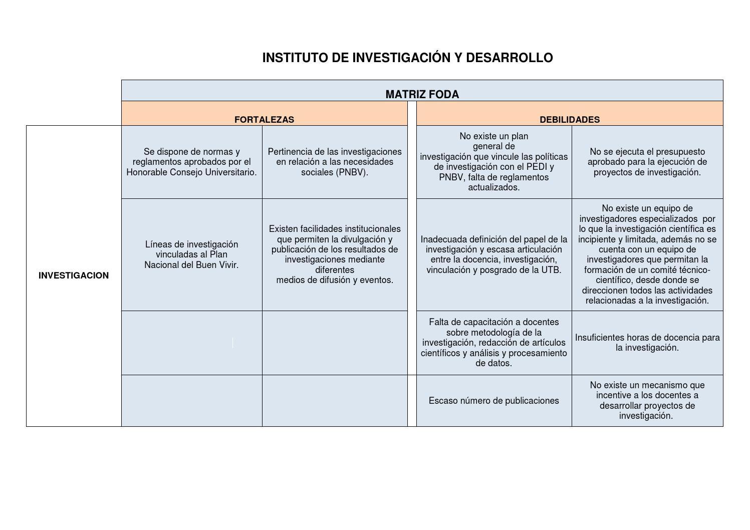 Matriz foda inst de inv y desarrollo by ceron silva for Proyecto comedor comunitario pdf