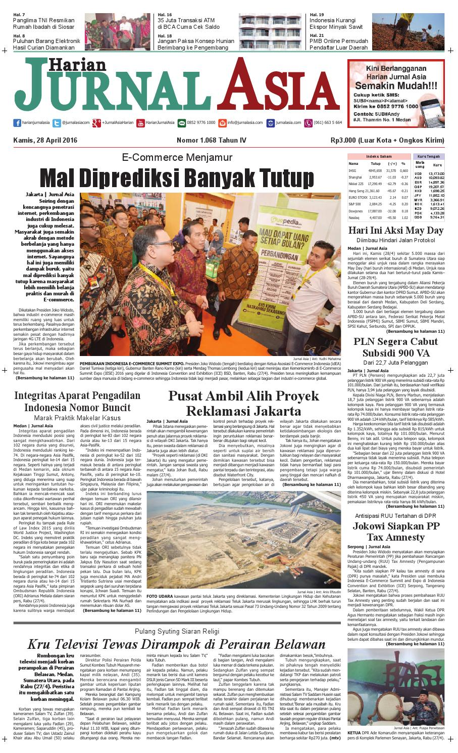 Harian Jurnal Asia Edisi Kamis 28 April 2016 By Dongkrak Botol Box Pvc Tomeco 2 Ton Medan Issuu