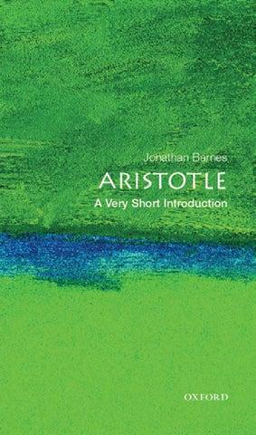 Jonathan barnes aristotle; a very short introduction (very short introductions #32)