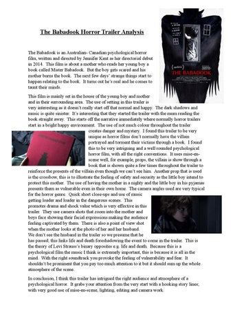 The Babadook Horror Trailer Analysis By Mollygraham Issuu
