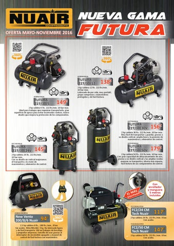 Compresor de aire NUAIR New Vento 1,5HP 6 litros.