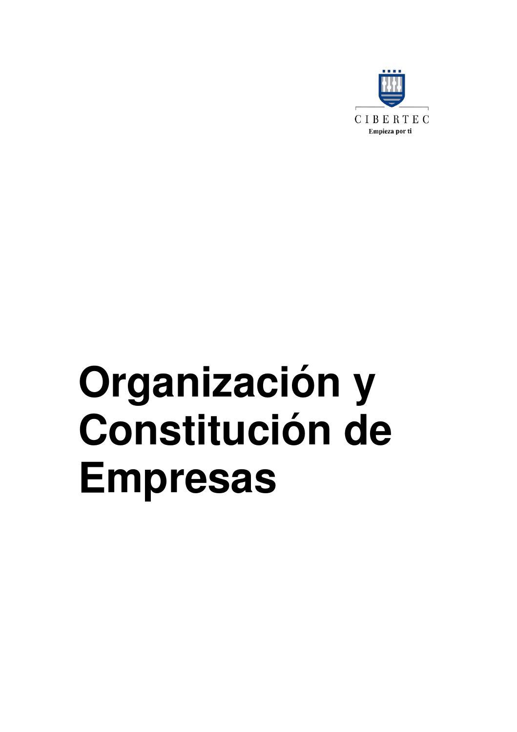 Manual Organización Y Constitución De Empresas 1622 By